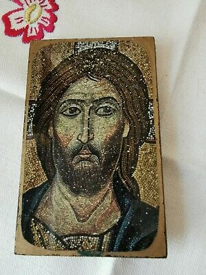Small Hand Made Christ the Merciful Icon Wall Plaque Religious Art
