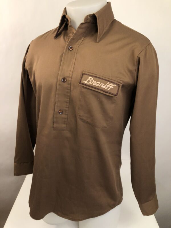 Vintage BRANIFF International Airlines Embroidered FLIGHT-MASTER Sm. Brown Shirt