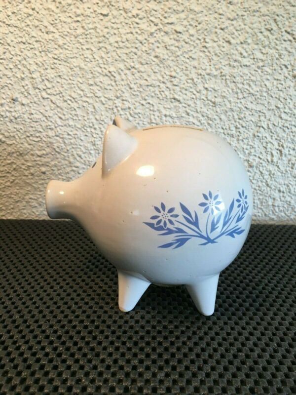 Vintage Fire King Cornflower Blue Flower Pig Ceramic Piggy Bank