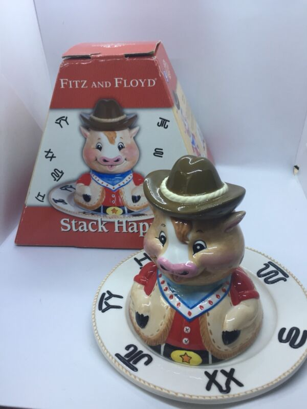 Fitz & Floyd (FF) Stack Happy Sheriff Cow Children