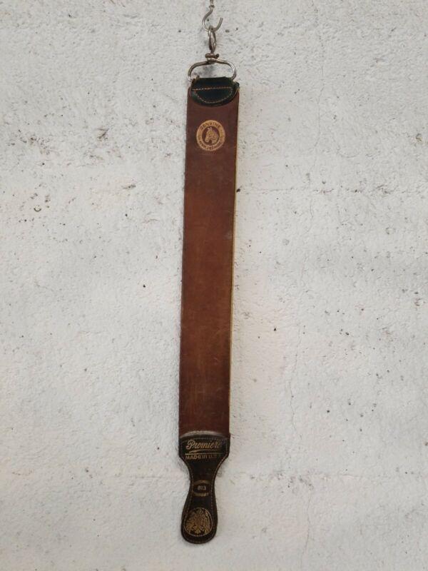 "Vintage 24"" Leather Barber Straight Razor Sharpening Strop PREMIERE, USA # 813"