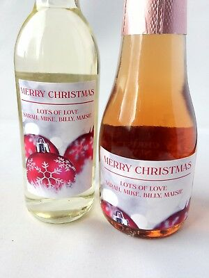 10x PERSONALISED CHRISTMAS RED BAUBLE MINI WINE & CHAMPAGNE BOTTLE - Champagne Bottle Labels