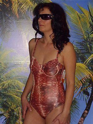 Damen Badeanzug durchbräunend Tan Thru Badeanzug Blüten Design Schlangen Design