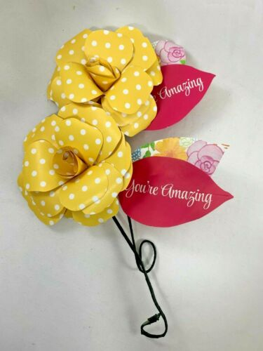 2 Paper Flowers on Wire Stems - Yellow Dot w/ You