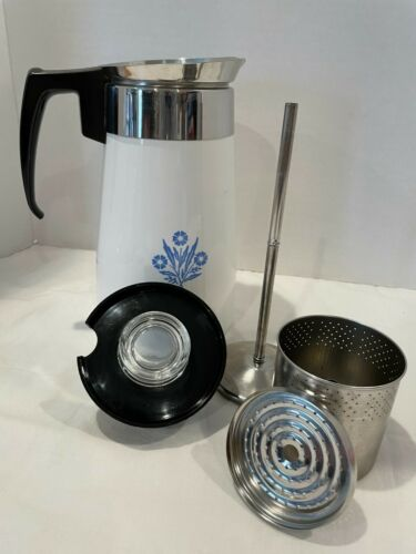 Corning Ware Stovetop 9-cup Prrcolating Coffe Pot- Excellent -Blue Cornflower