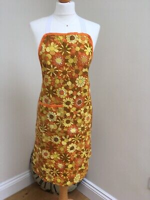 Vintage Floral Print 1960's 70's Apron Pinny With Pocket - Handmade