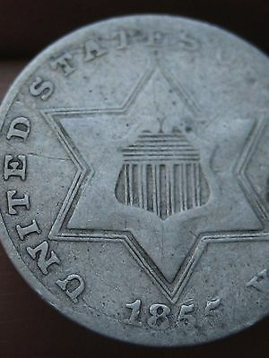 1855 Three 3 Cent Silver, Rare Key Date, VG/Fine Details! RPD, Repunched Date