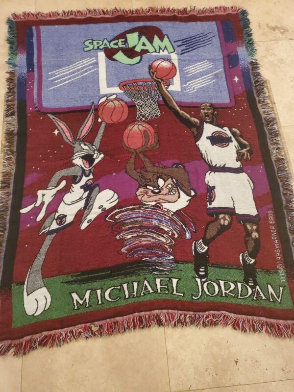 Vintage 1996 Warner Bros Michael Jordan Space Jam Throw Blanket Fringed Edges