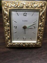 Vintage Brass Florn Jewel  Alarm Clock Made In Germany