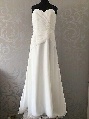 BEAUTIFUL DUCHESS SATIN AND CHIFFON BRIDAL GOWN WEDDING DRESS SIZE 18 IVORY...