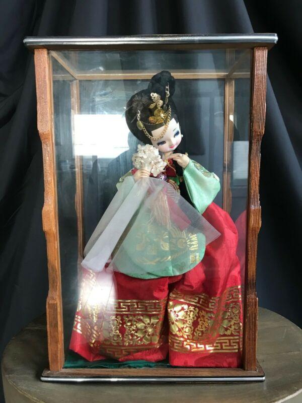 Vintage Korean Doll in Glass Display
