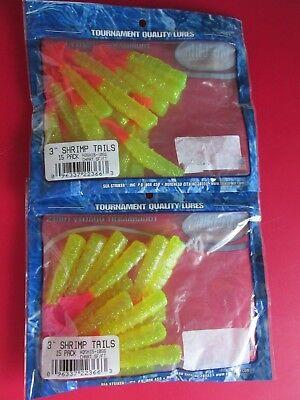 LOT OF 2 PACKS GOTCHA 3 INCH SHRIMP TAILS REDFISH SOFT PLASTIC 15 PER PACK
