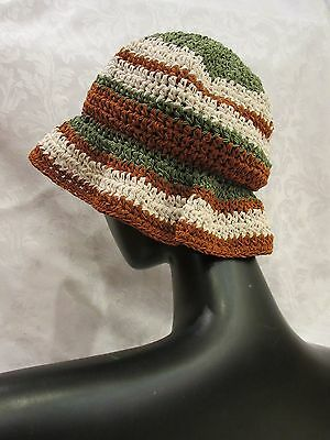 Vintage Gita Accessories Cloche Hat Brown/Green/Cream EUC
