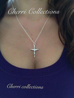 925 Sterling Silver Women's Crucifix Catholic Cross Pendant Necklace -