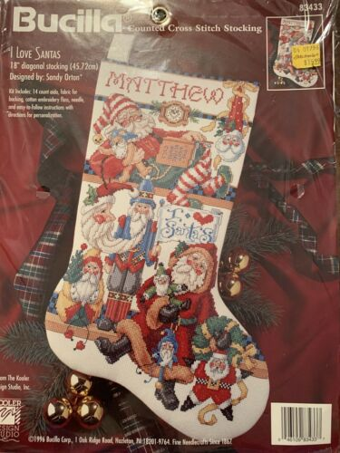 "Bucilla Cross Stitch Stocking Kit ""I Love Santas"" Super"