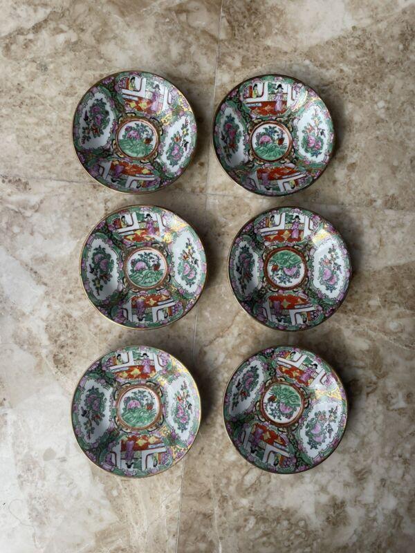 Vintage Chinese Famille Rose Medallion Porcelain  Saucer , set of 6 MARKED