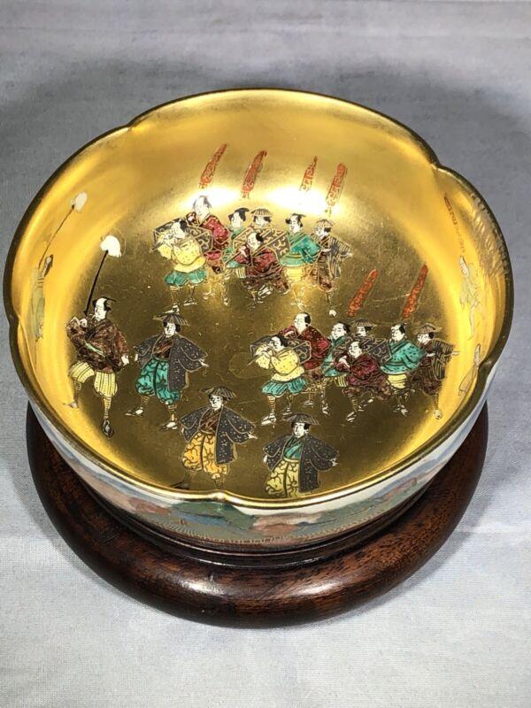 Stunning Antique Japanese Koshida Satsuma Warrior Lobed Bowl with 24K Gold
