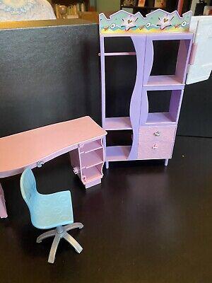 Assorted Barbie Furniture - Desk, Chair, Mattel 2001 Bedroom