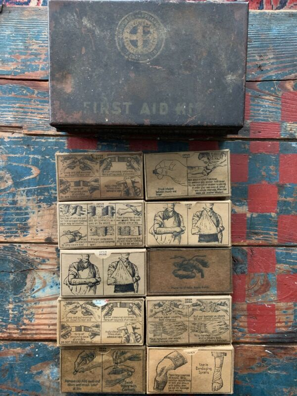 Vintage First Aid Kit With Illistrated Contents