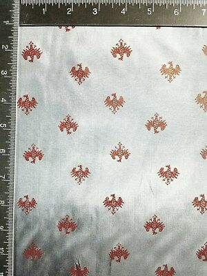 """3Yards/45"""" VTG Accessories-Lining """"GERMAN EAGLE"""" PRINTED RAYON FABRIC-Gry/RED"""