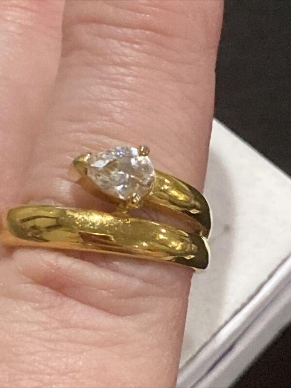 Vintage Ring Size 9 Snake Shiny Stone Estate Jewelry