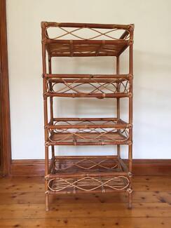 Vintage Rattan/Cane Mid-Century Shelf