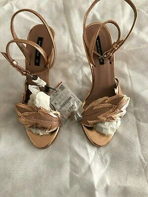 Zara Women's High Heals Sandals, Rose gold metallic, Leather, Size 36/6