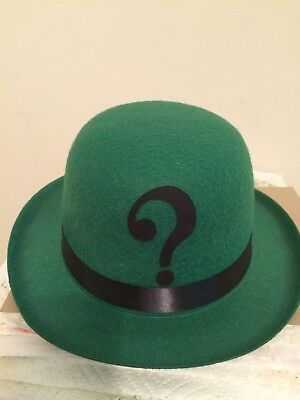 RIDDLER inspired Green Felt Derby Bowler HAT Cosplay Comic Con Halloween costume](Riddler Halloween Costume)