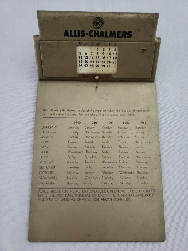 Rare Vintage 1949-1953 Calendar Allis-Chalmers Salesman Hand Receipt Clipboard