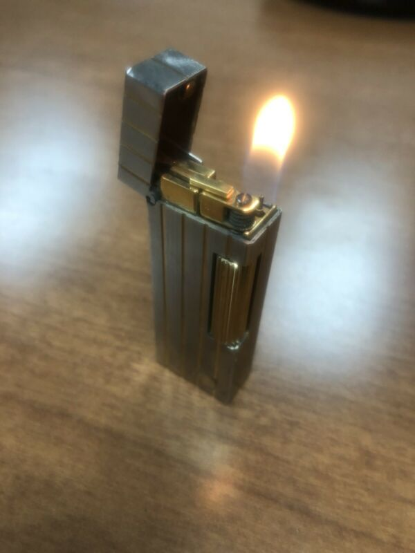Dunhill Rolla gas Silver Plated with Gold Stripe Lighter New Orings
