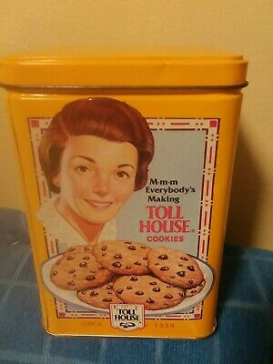 Vintage Nestle Toll House Collector Cookie Yellow Tin Can Antiqued