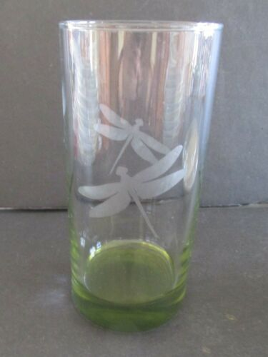 """4 Etched Dragonfly Dragonflies Tall Tumblers Avocado Green Bases 6.5"""" Tall"""