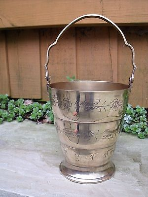 Silver plated Ice Bucket etched with Flowers & Leaves Silver Plated Ice Bucket