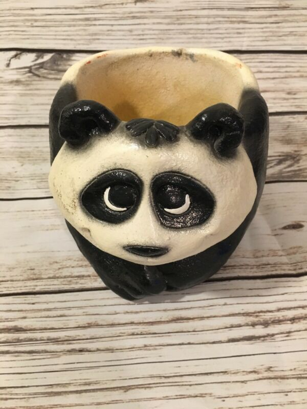 Vintage MYLO 1970's Ceramic Chinese Japanese Panda Bear Sandals Cartoon Planter