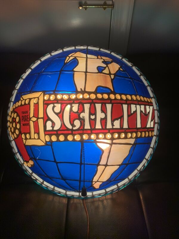 Schlitz beer sign 1977 LARGE tiffany hanging baroque light vintage lighted bar