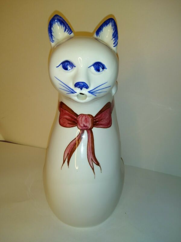 "Vintage Mancer 11"" Ceramic Painted Cat Pitcher  Made in Italy"