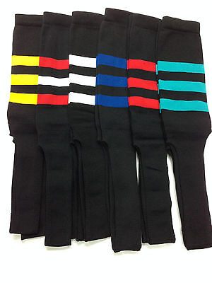 Baseball Stirrups Socks Black with Stripes : White Red Gold Teal Royal  Black Baseball Stirrup