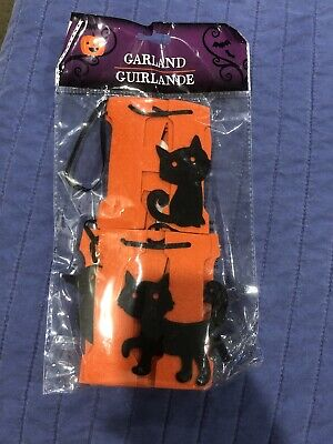 Black Cat Orange Letter Felt Banner Garland Halloween Party Decoration Decor