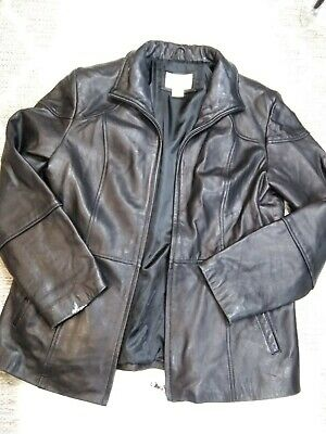 Women's WORTHINGTON Genuine Lambskin LEATHER Jacket zipper BLACK Size L