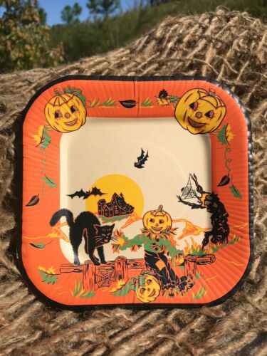 "Vintage Halloween - 6"" Square Paper Plate - New Old Stock - 5 Available"