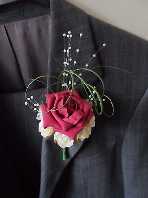 6 Raspberry & Ivory Rose Buttonhole Corsage Wedding Flowers Artificial