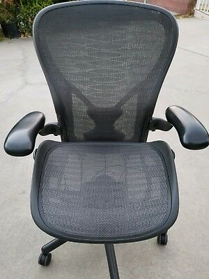 Herman Miller Aeron Rare Tuxedo Chair Size C Fully Loaded In Excellent Condition