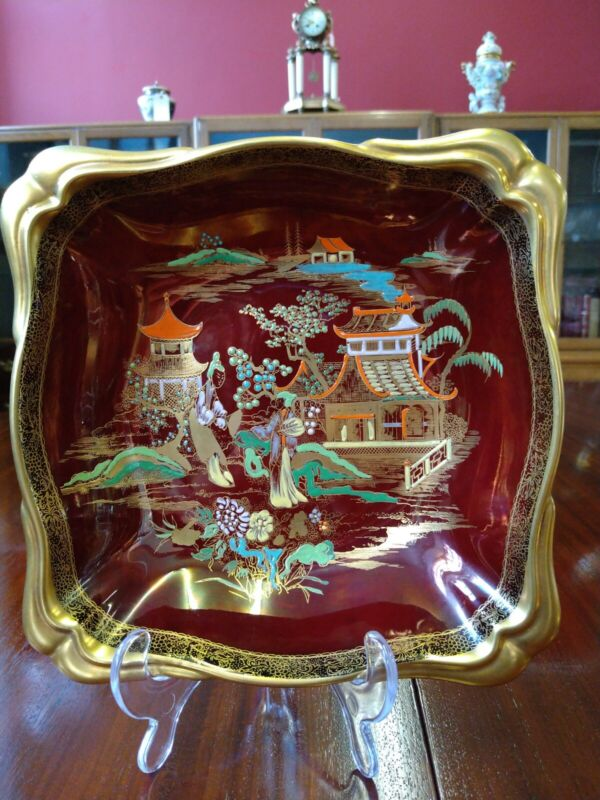 Vintage Carlton Ware  route royale Chinese pagoda , serving dish hand-painted.
