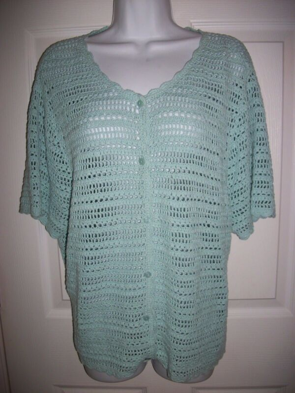Requirements Woman Light Green Knit Sweater Size 1X