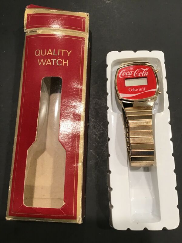Coca-Cola Red Watch Wristwatch Coke Mens Stainless S.Digital Soda Pop VintageNew
