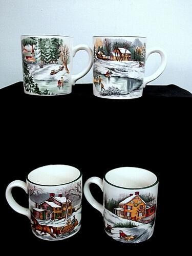 The Cellar O Tannenbaum Winter Scenes Mug Set of Four with Box