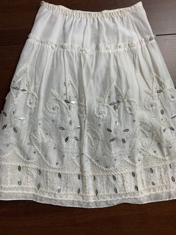 Girls Charabia France Sz 5 White Fully Lined Embroidered Beaded Sequin Skirt