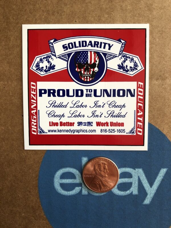 Solidarity Proud Union Skull USA Flag Beer Hard Hat Sticker Decal Skilled Labor
