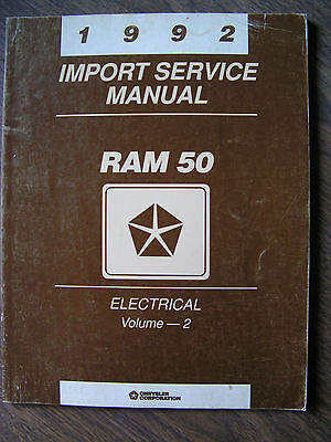 1992 Dodge Ram 50 Electrical Import Service Manual Vol. 2  Excellent Information