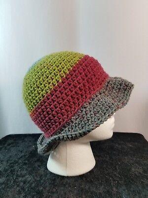 Cloche Flapper Hat Handmade Crochet Blue Green Burgundy Gray